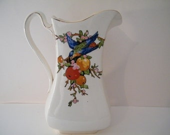 Royal Ventonware Pitcher, Meslum, vintage Large Porcelain Pitcher w/bluebird and fruit vine Steventon and Sons , Antique pottery-English-