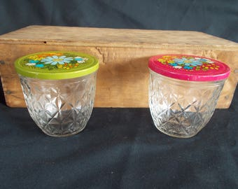 Vintage Ball Quilted Crystal Small Jars