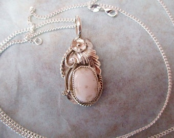 White Buffalo Turquoise Fancy Oval Pendant & Chain