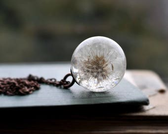 Magical dandelion sphere! Dandelion necklace, real dandelion, terrarium necklace, botanical, natural specimen