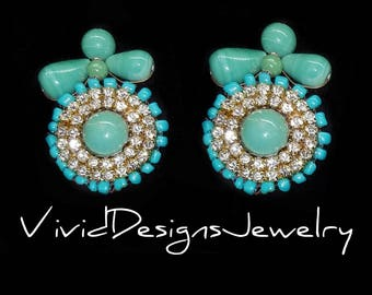 Seafoam Mint Green and Crystal Statement Earrings - Statement Jewelry