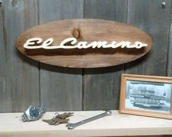 1959 Chevrolet El Camino Emblem Oval Wall Plaque-Unique scroll saw automotive art created from wood for your garage, shop or man cave.