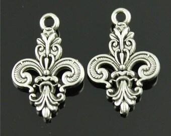 15pcs Fleur de Lis Charms, 25x16mm Antique Silver Tone Tierra Cast French Lily Charms Pendant