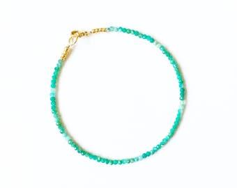 Micro Chrysoprase and Gold Bracelet //gemstone bracelet //Turquoise gemstone //gifts for women //gemstone jewellery /Green Gemstone bracelet