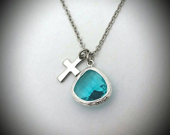 Graduation gift,Christian necklace,December birthstone,Blue zircon birthstone,Birthstone necklace with cross,December birthday gift,Teal