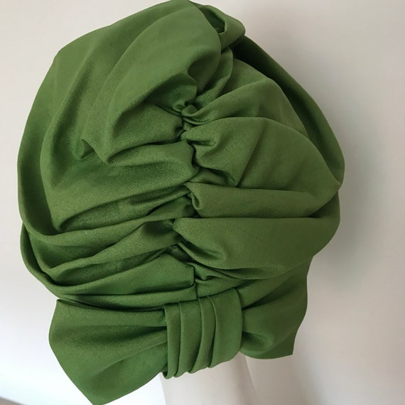 1960s turban green pleated hat Jacoll purple boho headpiece hippy 1970s psychedelic pea green bow