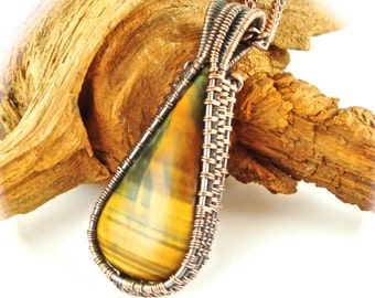 Wire Wrapped Woven Tiger Eye Pendant Antiqued Copper