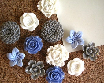 Thumbtack Set, Flower Pushpins, 12 pcs Blue, Gray and White Tacks, Bulletin Board Thumbtacks, Wedding Decor, Small Gift, Art Board Tack