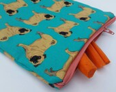 PUG LIFE, (food safe) Lined, Reusable & Washable Zippered Bags (3 sizes)