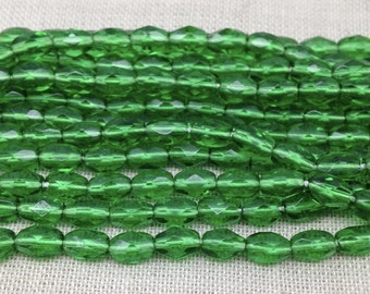 25 Vintage Green Czech Faceted Oval Glass Beads 6mm