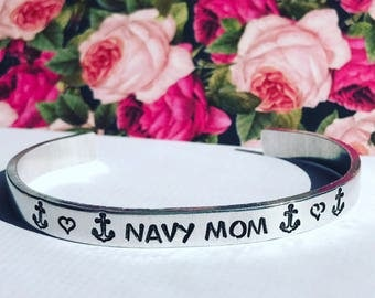 Custom Quote Aluminum Metal Stamped Cuff Bracelet 1/4 inch //personalized gift for navy parent mom dad girlfriend boyfriend husband wife