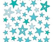 Bella Blvd - Blue Puffy Star Stickers - 50 pieces - PFST1677