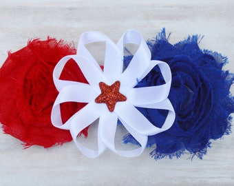 Red blue and white hair bow, star hair clip, shabby chic flower clip, Patriotic hair clip, Fourth of July hair clips, 4th of July hair bows