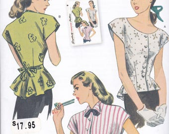 Simplicity 1590 Vintage Pattern  1940's Reissue Womens Fitted Button Up Top in 3 Variations Size 6,8,10,12,14 UNCUT
