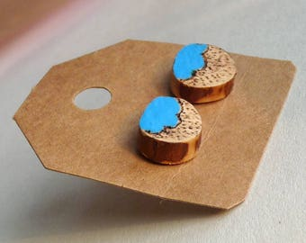 Rainy Cloud Hand Painted and Decorated Studs, Wooden Earrings, Tree branch slice studs with a blue cloud and raindrops