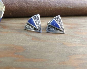 Lapis Earrings - December Birthstone - Lapis Triangle - Sterling silver - Inverted Triangle - Sterling Lapis Earrings