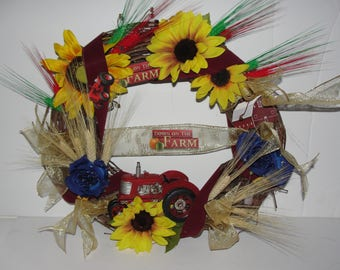 """Toy Red IH Tractor Farmer 18"""" Grapevine Wreath Wheat Silk Sunflowers Blue Roses Country Door Cemetery Funeral Sympathy Custom Orders Welcome"""