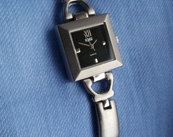 Ladies Brushed Stainless Steel Bracelet Watch, 1990s Quartz Watch, Square Faced Watch