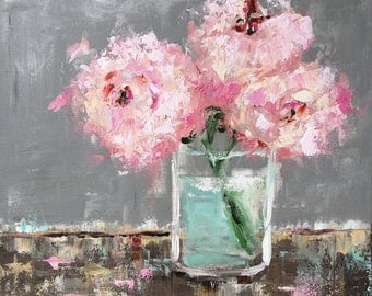 Original acrylic painting - perfect Peonies floral, still life, palette knife painting, impressionism 24x24