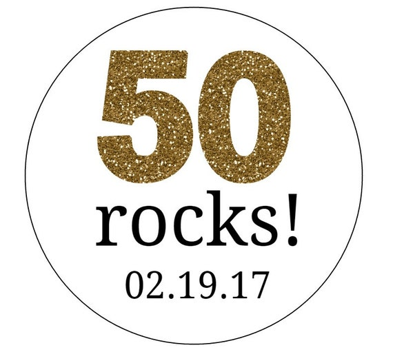 20 50 Rocks Stickers Gold Letters Birthday Favors Envelope