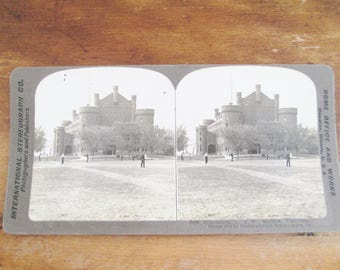 1904 Antique Edwardian Sterographic Photo Card Gymnasium U of W Madison Wisconsin Photography Altered Arts Mixed Media Collectible