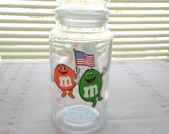 Vintage M&M Glass Jar with Lid, Celebrating the 1984 Olympics, Los Angeles, Candy Jar, Storage,  Chocolate Candies,