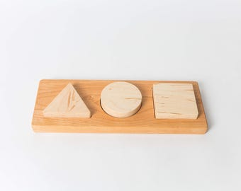 First Chunky Shape Puzzle--Montessori Puzzle--Montessori Toddler Toy