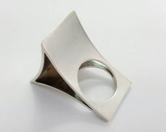 Vintage Kaunis Koru Finland Gigantic Sterling Silver Modernist Statement Ring Size 5.75