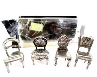 Vintage Pewter Placecard Holders, Set of 4, Pewter Chair Placecard Holders, Universal Pewter, 1996