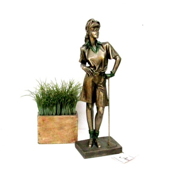 Woman Golfer Statue, Austin Sculpture, From the Fringe, Retired, AP4109, Large Woman Golfing Statue, Gift for Golfer, LPGA