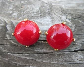 Cherry Red Swirl Bakelite Earrings signed Star