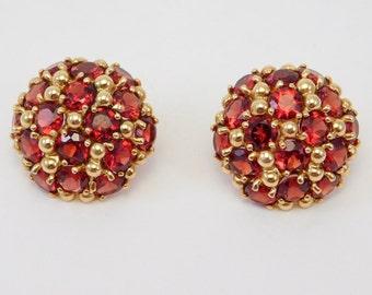 14K Estate Domed Earrings Pave Almandine Garnets