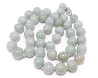 Pretty 10mm Celadon Jade Knotted Beads Necklace 14K Clasp
