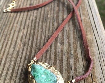 Green Druzy Necklace FREE SHIPPING
