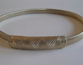 Goldtone cobra belt, 1970s vintage stretch snake belt, Accessocraft, size small/medium