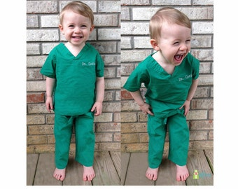 Monogrammed Kids' Scrubs, Personalized Infant and Toddler Scrubs, Child's Scrub Set, Doctor Nurse Scrubs, Big Brother & Big Sister Outfit