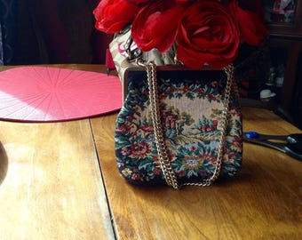 Small black tapestry bag