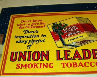 Union Leader Smoking Tobacco Advertising Large Poster Board Original Vintage Holiday Store Display Card Tobacciana