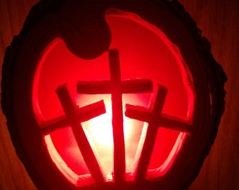Religious Cross night light hand made out of mesquite