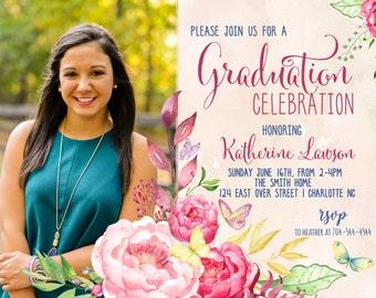 Graduation Party Invitation Floral Graduation.  Graduation Photo Printable Invitation Watercolor, sublime, photo