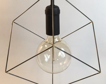 Cube pendant light, industrial lighting, square, modern lighting, geometric lighting, black socket, black fabric cord, black ceiling canopy