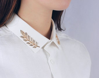 Pin's Bay Leaf gold / collar tips DIY / Malicieuse shop