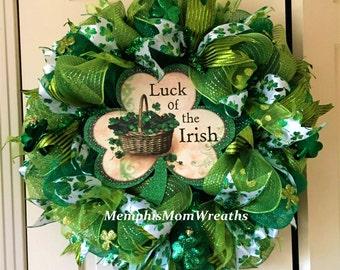 St. Patrick's Luck of the Irish Deco Mesh Wreath - St. Patrick's Day Wreath - Deco Mesh Wreath - Irish Wreath