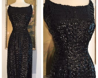 1950s Vintage Black Sequined Dress -- Sparkly and Glamorous in a Larger Size, Curvy Size!