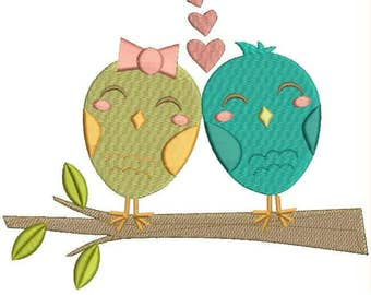 Two Owls And Love Tree Applique Machine Embroidery Designs - Two Owls, Love Tree with Heart Full Embroidery Pattern
