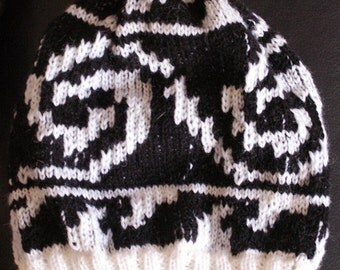 Handknitted Hat Black and white patterned