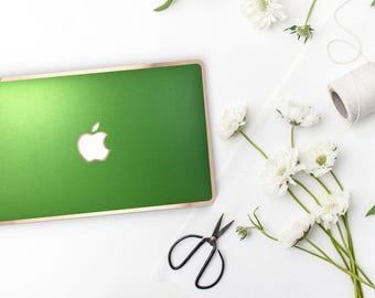 Platinum Edition Metallic Apple Green with w/Rose Gold Edge Hybrid Hard Case for Apple Mac Air & Mac Retina , New Macbook 2016