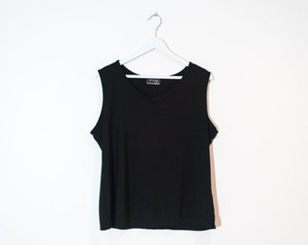 on sale - basic loose black tank top / stretchy sleeveless blouse / size XL