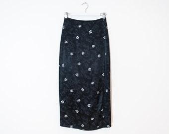 on sale - black silky floral wrap skirt / high waist straight maxi skirt / size 26