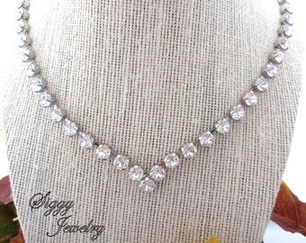 Swarovski Crystal V Shape Bridal Collar Necklace, Clear 6mm Crystals, Classy and Elegant, BRIDAL SENSATION, Siggy Jewelry, FREE Shipping